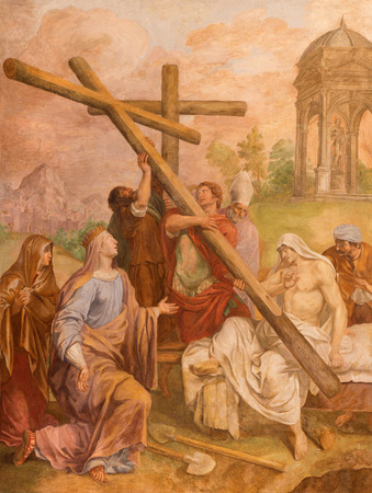 helen: ROME, ITALY - MARCH 9, 2016: The fresco The St. Helen find the Holy Cross in church Basilica di Santa Maria del Popolo by Pieter van Lindt (1637).