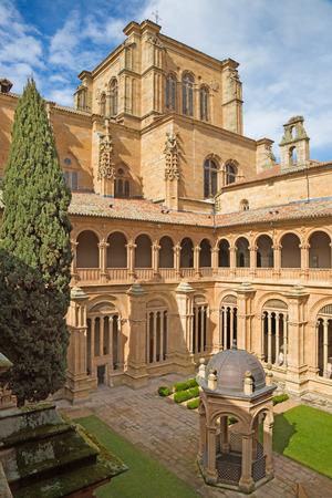 convento: SALAMANCA, SPAIN, APRIL - 16, 2016: The gothic atrium of monastery Convento de San Esteban.