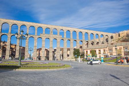 SEGOVIA, SPAIN, APRIL - 14, 2016: Aqueduct of Segovia and Plaza del Artilleria. Editorial