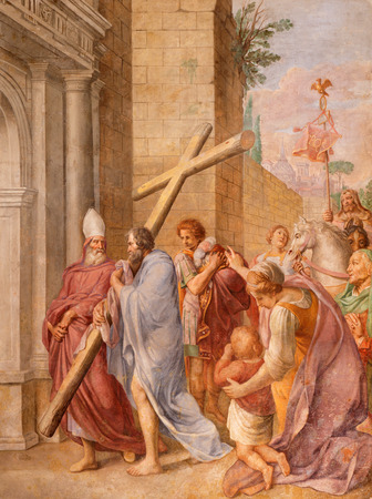 lindt: ROME, ITALY - MARCH 9, 2016: The fresco emperor Constantine carrying the holy cross (probably) in church Basilica di Santa Maria del Popolo by Pieter van Lindt (1637).