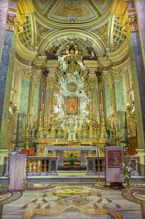 high altar: ROME, ITALY - MARCH 10, 2016: The presbytery in church Chiesa di Santa Caterina da Siena a Magnapoli. The high altar was constructed in 1787 from a design by Carlo Marchionni (1702 - 1786).