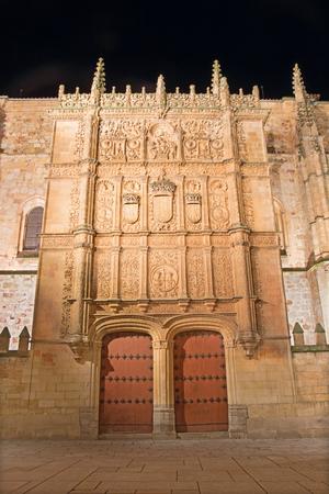 plateresque: SALAMANCA, SPAIN, APRIL - 17, 2016: The plateresque facade of the University of Salamanca form 16. cent. Editorial