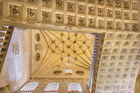 convento: SALAMANCA, SPAIN, APRIL - 16, 2016: The gothic vault of stairs of monastery Convento de San Esteban.