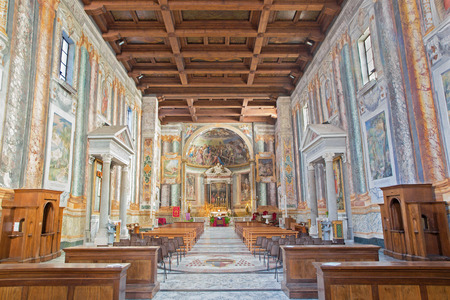 nave: ROME, ITALY - MARCH 11, 2016: The nave of church Basilica di San Vitale.