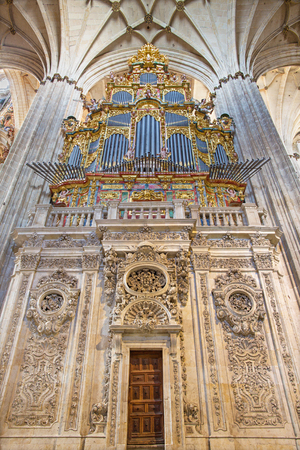 SALAMANCA, SPAIN, APRIL - 16, 2016: The Organ and gothic vault of Cathedral.