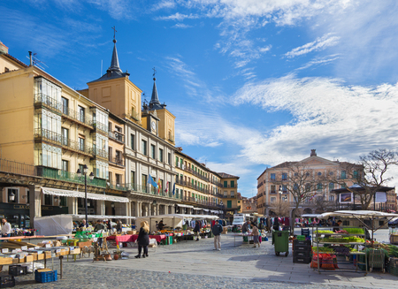 SEGOVIA, SPAIN, APRIL - 14, 2016: The Plaza Mayor square and the morning market.