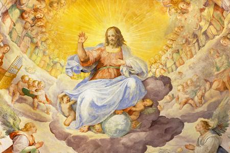 ROME, ITALY - MARCH 11, 2016: The fresco of Christ the Redeemer in Glory with the Heavenly Host by Niccolo Circignani Il Pomarancio (1588) in main apse of church Basilica di Santi Giovanni e Paolo.