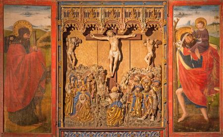 polychrome: SEGOVIA, SPAIN, APRIL - 14, 2016: The polychrome gothic relief of Crucifixion in atrium of church Monasterio de San Antonio el Real from 15. cent. Editorial