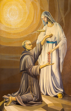 BRESCIA, ITALY - MAY 22, 2016: The painting of holy Maximilian Kolbe and Virgin Mary of the Lourdes in church Chiesa di San Francesco dAssisi by A. Girardi (1984). Editorial