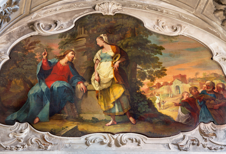 samaritans: BRESCIA, ITALY - MAY 22, 2016: Painting of Jesus and Samaritans at well scene in the church Chiesa di Santa Maria dei Miracoli by Enrico Albricci (1749 - 1754) Editorial