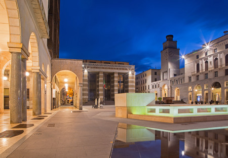 cavour: CREMONA, ITALY - MAY 23, 2016: The Piazza Cavour square at dusk. Editorial