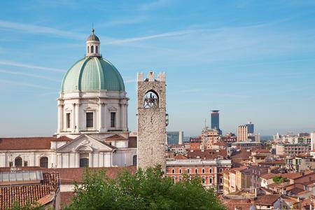 Brescia - The Duomo cupola over the town in morning light. Editorial