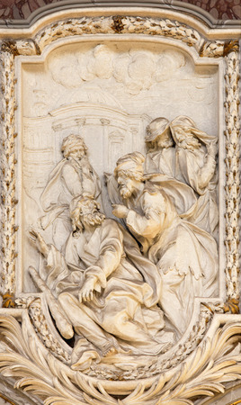 christendom: ROME, ITALY - MARCH 10, 2016: The relief of scene from life of St. Thaddeus the Apostle designs by in church Basilica di San Marco Clemente Orlandi (1741).holy Editorial