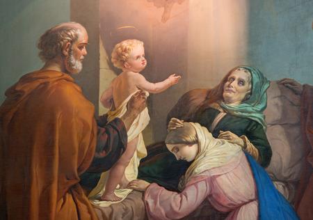 familia en la iglesia: Brescia, Italia - 21 de mayo, 2016: La pintura de la muerte de la primera. Ann en la iglesia Chiesa di San Zeno al foro de Luigi Campini (1857).