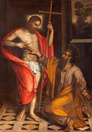 BRESCIA, ITALY - MAY 22, 2016: The painting  The Doubt of St. Thomas in church Chiesa di San Faustino e Giovita by unknown artist of 16. cent.