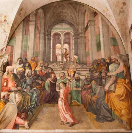 BRESCIA, ITALY - MAY 21, 2016: The fresco Twelve old Jesus in the Temple by Lattanzio Gambara ( 1530 - 1574) in church Chiesa del Santissimo Corpo di Cristo.