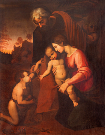chiesa: CREMONA, ITALY - MAY 24, 2016: The painting of Holy Family in Chiesa di San Agostino by Maria Zupelli (16. cent.)