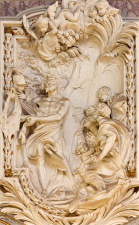 christendom: ROME, ITALY - MARCH 10, 2016: The relief of St. Bartholomew the Apostle in church Basilica di San Marco by Giovanni Le Dous (1705 - 1764). Editorial