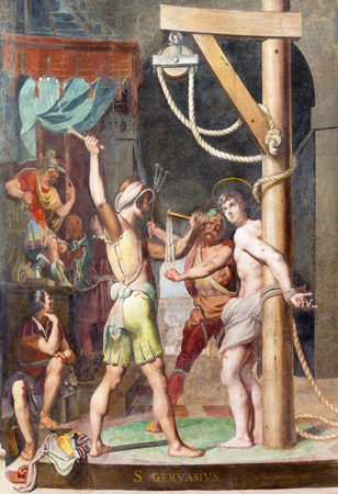 martyr: ROME, ITALY - MARCH 11, 2016: The Martyrium of St. Gervasius fresco in church Basilica di San Vitale by Tarquinio Ligustri (1603).