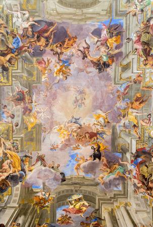 ROME, ITALY - MARCH 10, 2016: The central part of vault baroque fresco The Apotheosis of St Ignatius by jesuit frater Andrea Pozzo (1685) in church Chiesa di Sant'Ignazio di Loyola.