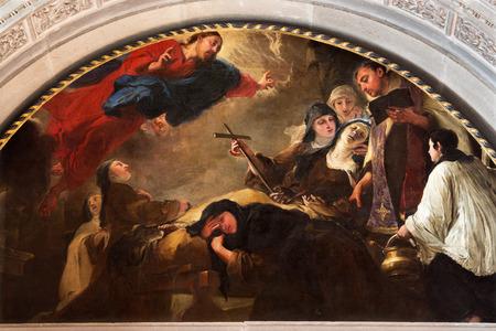 BRESCIA, ITALY - MAY 22, 2016: The painting The death of St. Theresa of Avila  in Chiesa di San Pietro in Olvieto by Giovanni Segala da Murano (1696). Editorial
