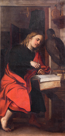 BRESCIA, ITALY - MAY 23, 2016: The painting of St. John the Evangelist in church Chiesa di San Giovanni Evangelista by by Alessandro Bonvicino - Moretto (1498 - 1554).