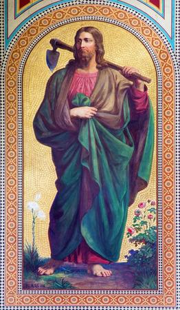Vienne - 27 juillet: fresque de Jésus-Christ comme jardinier par Karl von Blaas de l'année 1858 dans la nef de l'église d'Altlerchenfelder le 27 juillet 2013 à Vienne.