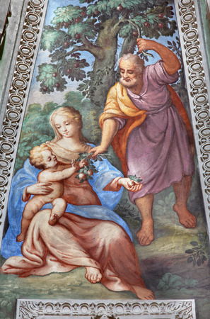 BRESCIA, ITALY - MAY 22, 2016: The Fresco of Holy Family in apse of St. Joseph chapel in church Chiesa di San Francesco dAssisi by unknown artist of 16. cent.