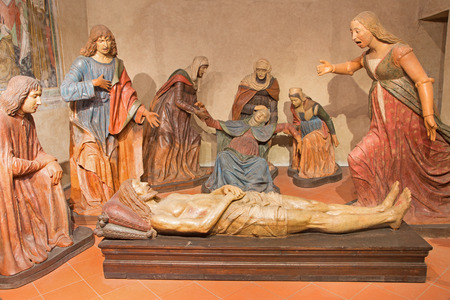 BRESCIA, ITALY - MAY 22, 2016: The sculptural group Complaint with the Pieta in church Chiesa di Santa Maria del Carmine by Guido Mazzoni from 15. cent. Editorial