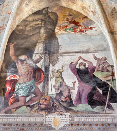 cristo: BRESCIA, ITALY - MAY 21, 2016: Fresco from life of St. Jerome, Francis, Mary of Magdalen, Anthony and Paul in church Chiesa del Santissimo Corpo di Cristo by Jesuit Benedetto da Marone (1550- 1565).