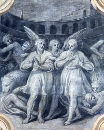 persecution: BRESCIA, ITALY - MAY 23, 2016: The monochromatic fresco of First christian martyrs among the lions in colosseum in church Chiesa di San Faustino e Giovita by Camillo Rama (1586 - 1627)