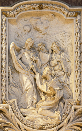 symbolic: ROME, ITALY - MARCH 10, 2016: The relief of  The Incredulity of St Thomas by Carlo Monaldi in church Basilica di San Marco (1741).