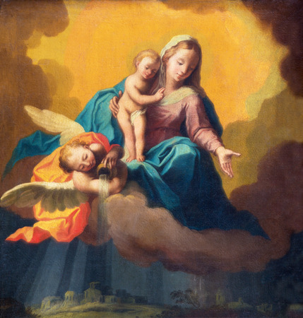 miracoli: BRESCIA, ITALY - MAY 22, 2016: Painting of Madonna as the guardian in the storm over the Brescia in the church Chiesa di Santa Maria dei Miracoli by unknown artist of 19. cent.