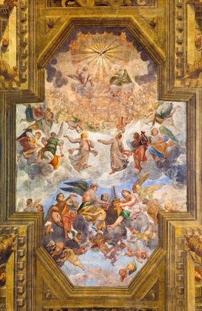 chiesa: BRESCIA, ITALY - MAY 23, 2016: The ceiling fresco with Glory of St. Faustino and Giovita and Bernardino Gandino in church Chiesa di San Faustino e Giovita by Tommaso Sandrino (1580 - 1630).