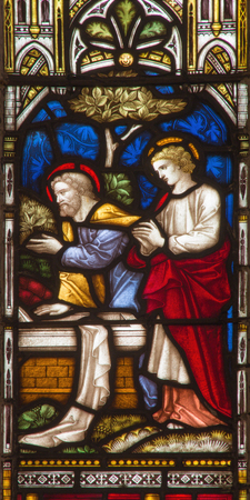 empty tomb: ROME, ITALY - MARCH 9. 2016: The Visit of Peter and John to the Empty Tomb  on the stained glass of All Saints Anglican Church by workroom Clayton and Hall (19. cent.)