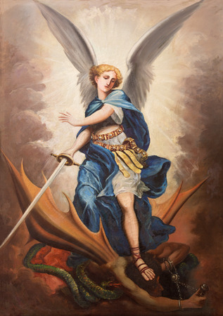 TEL AVIV, ISRAEL - MARCH 2, 2015: The paint of archangel Michael from st. Peters church in old Jaffa by P. Zalarn from end of 19. cent. Editorial