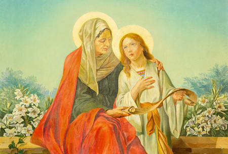 melle: ROME, ITALY - MARCH 10, 2016: The painting of st. Ann with the Virgin Mary in church Basilica di Santa Maria Ausiliatrice by Salesian priest and Don Giuseppe Melle (20. cent.)