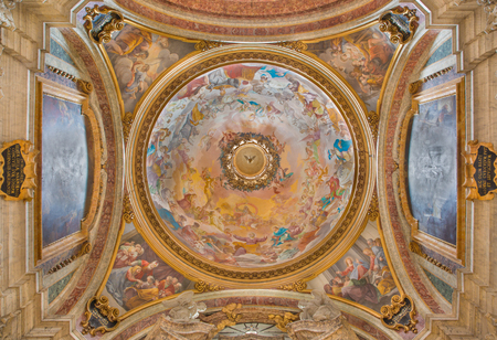 ROME, ITALY - MARCH 10, 2016: The side cupola of Sacripanti chapel wiht the fresco Glory of St. Joseph in church Chiesa di Sant'Ignazio di Loyola by Luigi Garzi (1638 - 1721). Editorial