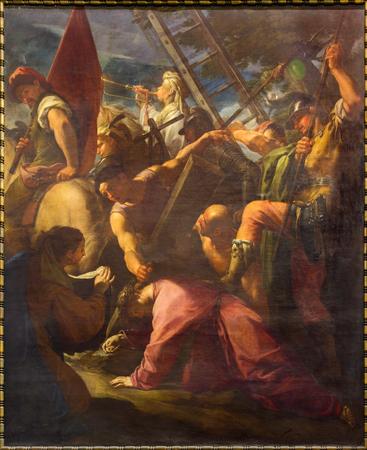 ROMA, ITALIA - 9 marzo 2016: La Salita al Calvario nella chiesa di Chiesa di San Silvestro in Capite da Francesco Trevisiani (1656 - 1746).