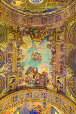 melle: ROME, ITALY - MARCH 10, 2016: The fresco Triumphs of the Church over the Ottomans (1957-1965) on vault of church Basilica di Santa Maria Ausiliatrice by Salesian priest and artist Don Giuseppe Melle.