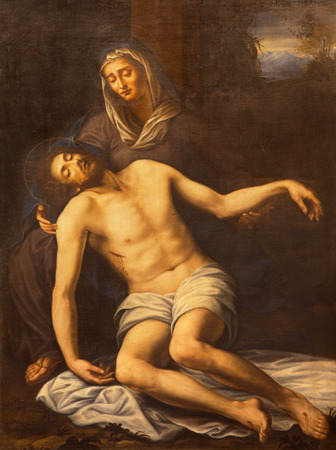 deposition: OME, ITALY - MARCH 10, 2016:  The painting of Pieta in church Basilica di San Marco Editorial