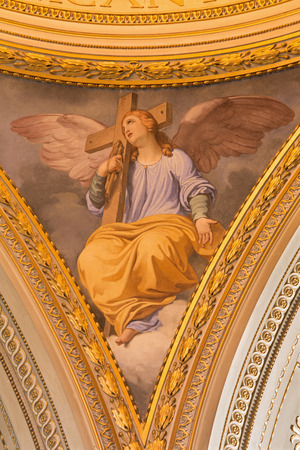 symbolic: ROME, ITALY - MARCH 11, 2016: The symbolic fresco of angel with the cross in side cupola in church Basilica di Santi Giovanni e Paolo by Ferancesco Coghetti (1801 - 1875)