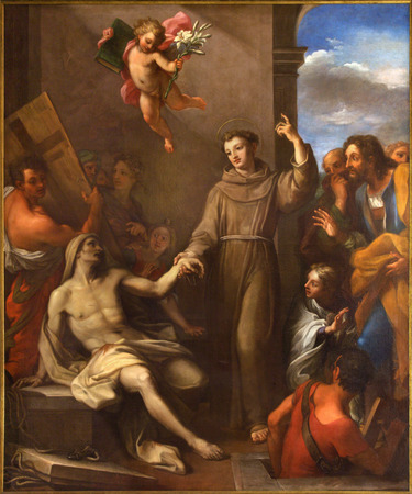 ROME, ITALY - MARCH 9, 2016: The painting St. Anthony of Padua raises a man from the death in church Chiesa di San Silvestro in Capite by Giuseppe Chiari (1695 - 1696). Editoriali
