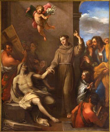 ROMA, ITALIA - 9 marzo 2016: Il dipinto S. Antonio da Padova solleva un uomo dalla morte nella chiesa di Chiesa di San Silvestro in Capite da Giuseppe Chiari (1695-1696).