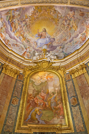 ROME, ITALY - MARCH 11, 2016: The Christ the Redeemer in Glory by N. Circignani (1588) and altarpiece of Martyrdom of SS John and Paul, by Giacomo Triga (1726) in Basilica di Santi Giovanni e Paolo. Editorial