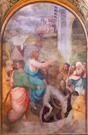 christianity palm sunday: CREMONA, ITALY - MAY 24, 2016: The fresco Entry of Christ in Jerusalem in Chiesa di Santa Rita by Giulio Campi (1547).