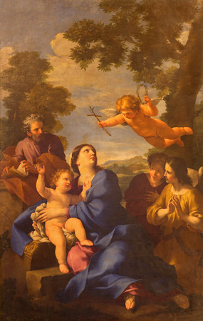 ROME, ITALY - MARCH 10, 2016: The painting The Reposo of Holy family in Egypt in church Chiesa di San Carlino alle Quatro fontane by Giovan Francesco Romanelli 17. cent.