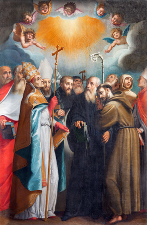 heave: ROME, ITALY - MARCH 11, 2016: The painting The Holy Confessors in church Basilica di San Vitale by Giovanni Battista Fiammeri ( 1530 - 1606). Editorial