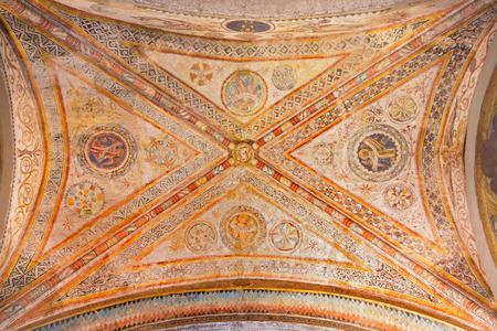 new testament: BRESCIA, ITALY - MAY 20, 2016: The gothic ceiling fresco from 13. cent. with the symbolic of The Four Evangeslists in Duomo Vecchio.
