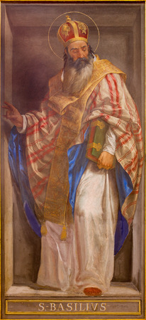 st  basil: ROME, ITALY - MARCH 9, 2016: The fresco of the Doctor of the Church St. Basil the Great in church Chiesa di Santa Maria in Aquiro by Cesare Mariani from (1826 - 1901 in neo-mannerist style.
